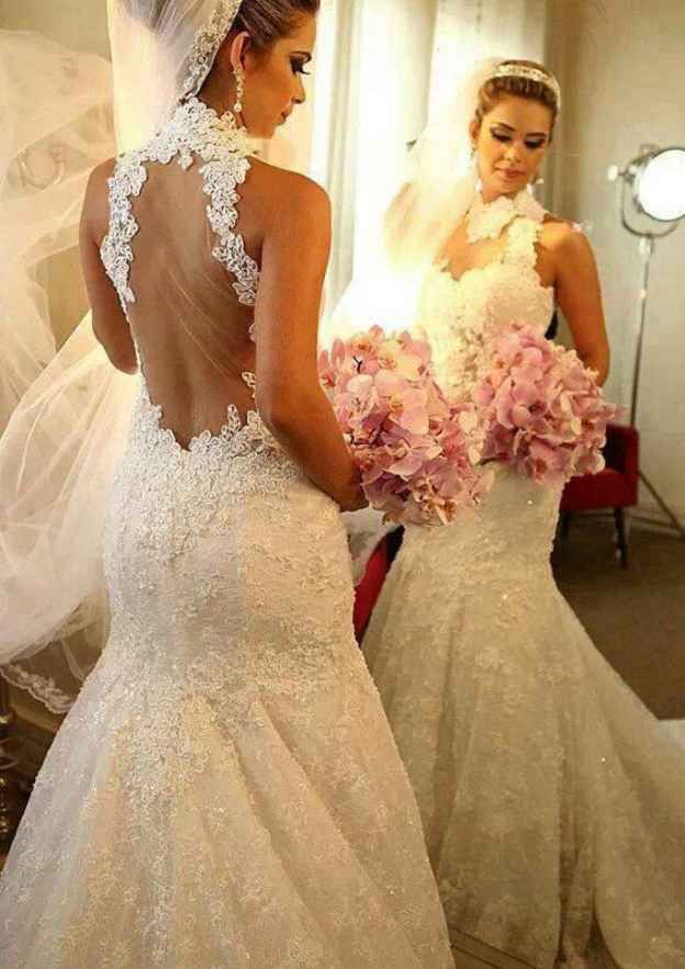 Sheath/Column High-Neck Sleeveless Court Train Lace Wedding Dress With Appliqued