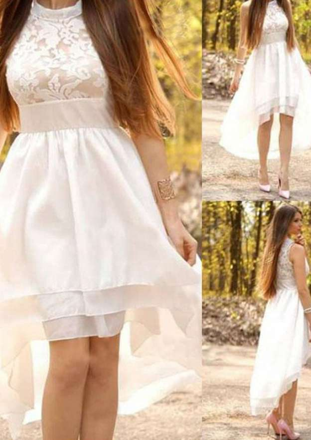 A-Line/Princess Scoop Neck Sleeveless Asymmetrical Chiffon Wedding Dress With Appliqued