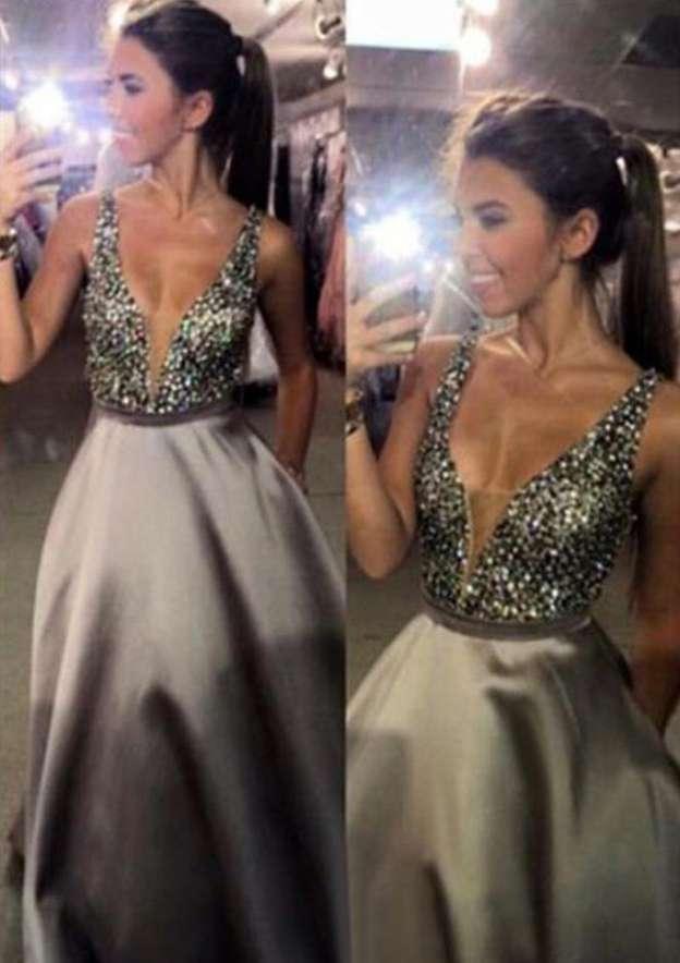 A-Line/Princess V Neck Sleeveless Long/Floor-Length Satin Evening Dress With Sequins