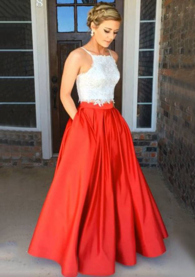 A-Line/Princess Square Neckline Sleeveless Long/Floor-Length Satin Prom Dress With Pockets Beading Lace