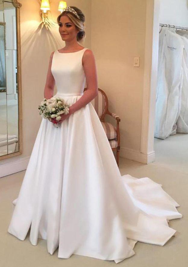 A-Line/Princess Bateau Sleeveless Court Train Satin Wedding Dress With Waistband Bowknot