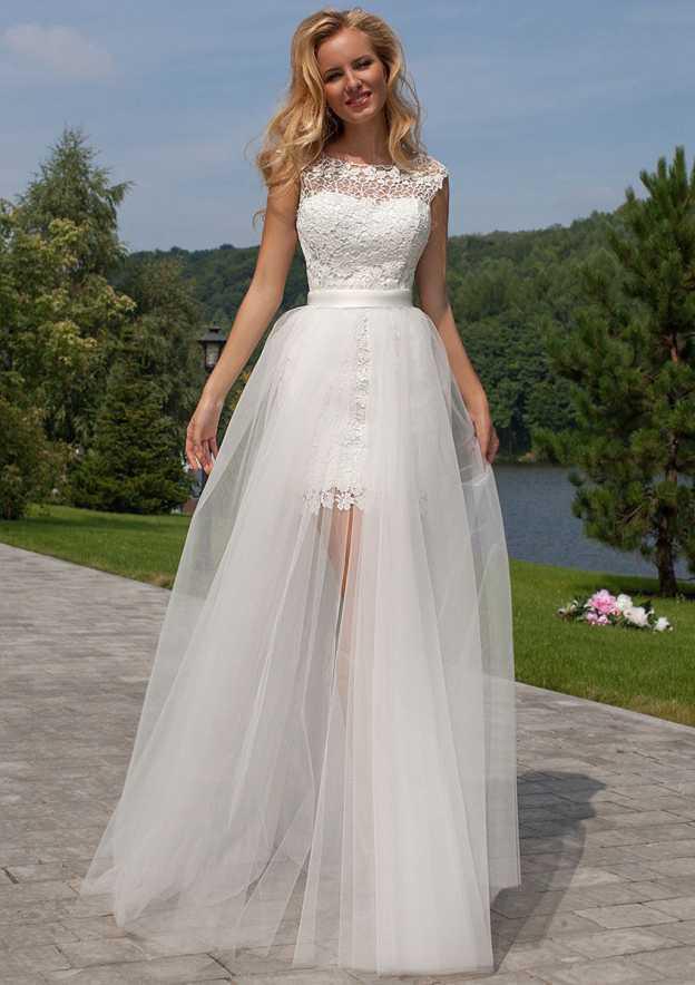 A-Line/Princess Bateau Sleeveless Detachable/Knock-Down Lace Wedding Dress
