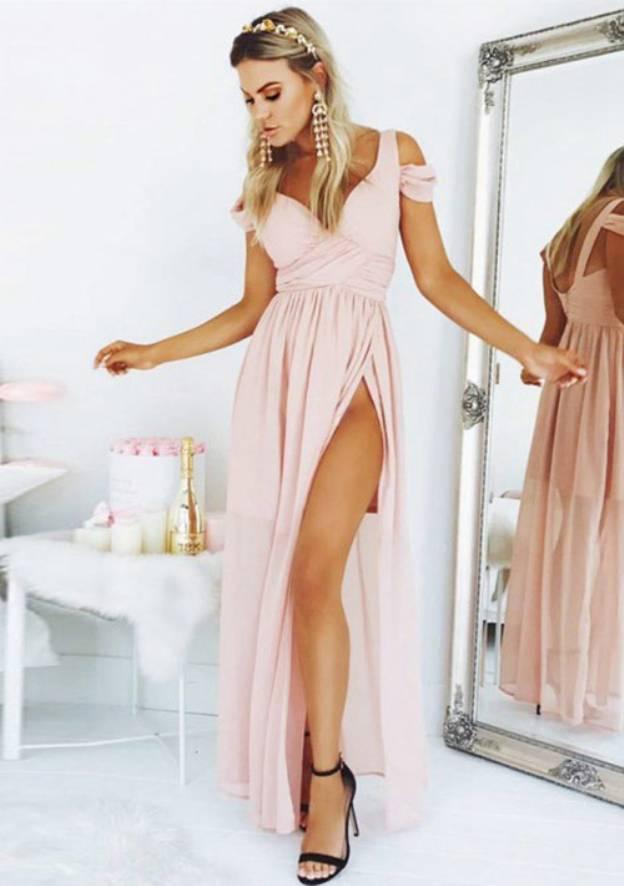 A-Line/Princess Sweetheart Sleeveless Long/Floor-Length Chiffon Prom Dress With Split Pleated