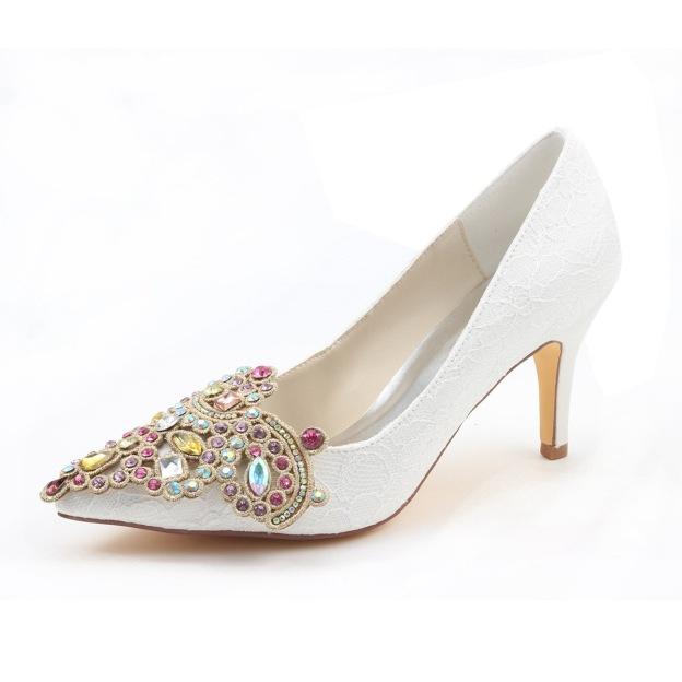 Close Toe Pumps Wedding Shoes Stiletto Heel Lace Wedding Shoes