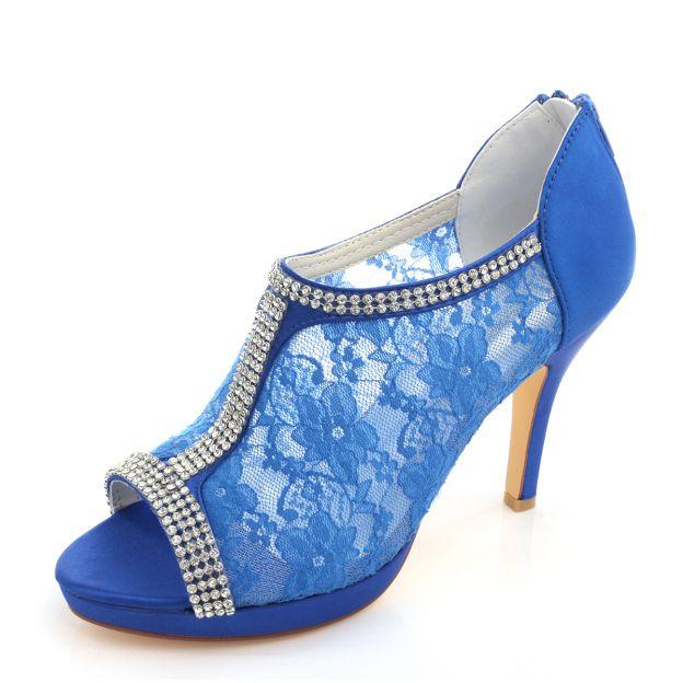Peep Toe Platform Pumps Stiletto Heel Lace Wedding Shoes With Buckle Zipper