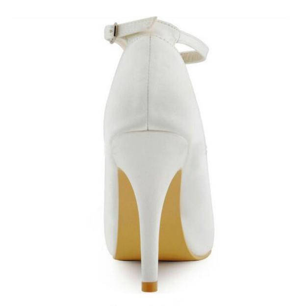 Peep Toe Platform Pumps Stiletto Heel Satin Wedding Shoes With Buckle Crystal