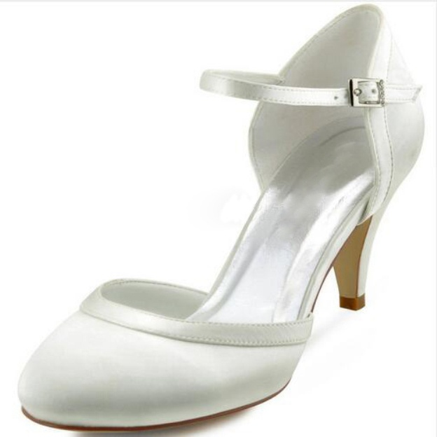 Close Toe Wedding Shoes Round Toe Cone Heel Satin Wedding Shoes With Buckle Rhinestone