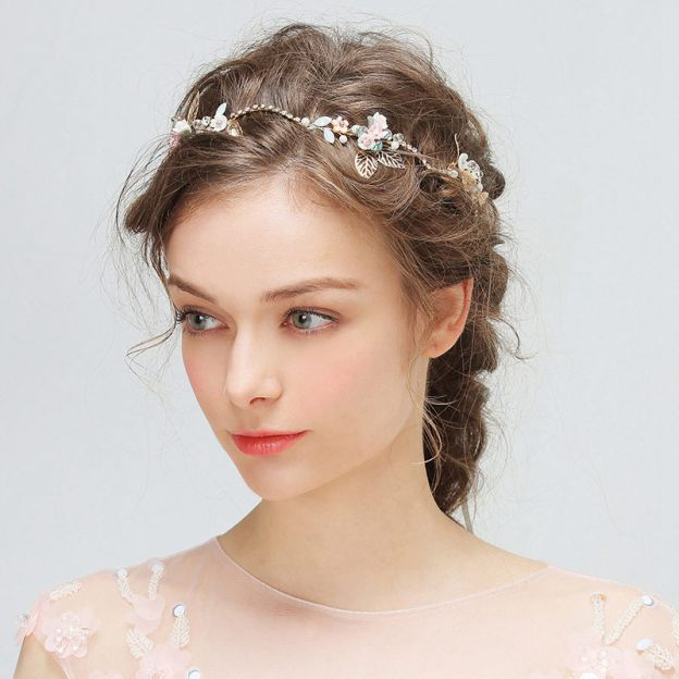 Alloy Ladies Headbands With Rhinestone Pearl Flower