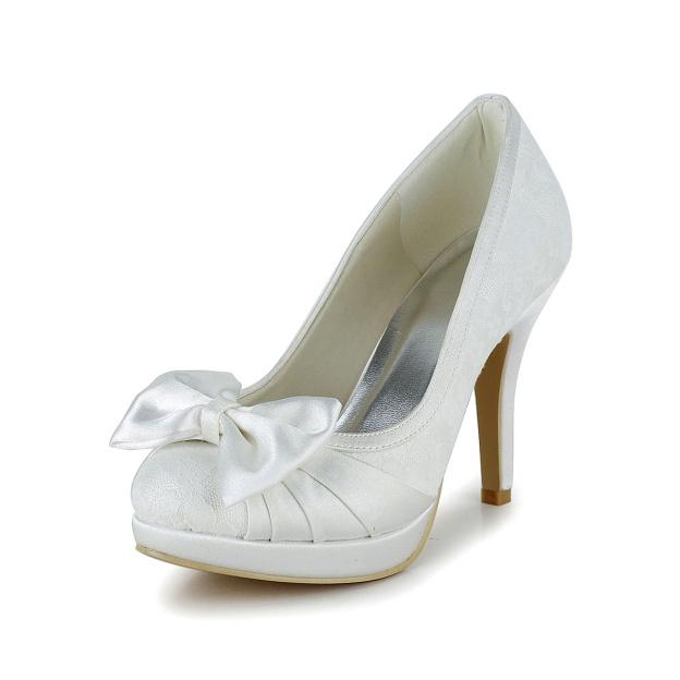 Close Toe Platform Pumps Stiletto Heel Satin Wedding Shoes With Bowknot
