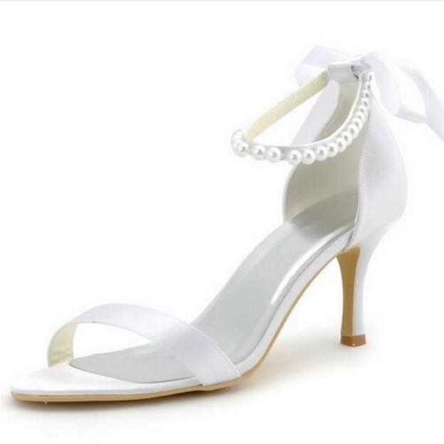 Peep Toe Pumps Sandals Spool Heel Satin Wedding Shoes With Imitation Pearl Ribbon Tie