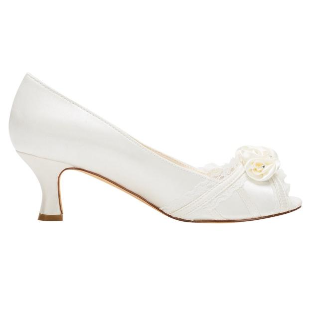 Peep Toe Wedding Shoes Spool Heel Satin Wedding Shoes With Flowers Lace Rhinestone