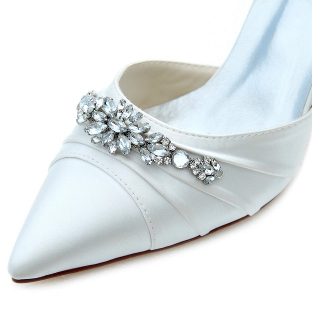 Close Toe Pumps Wedding Shoes Stiletto Heel Satin Wedding Shoes With Buckle Rhinestone