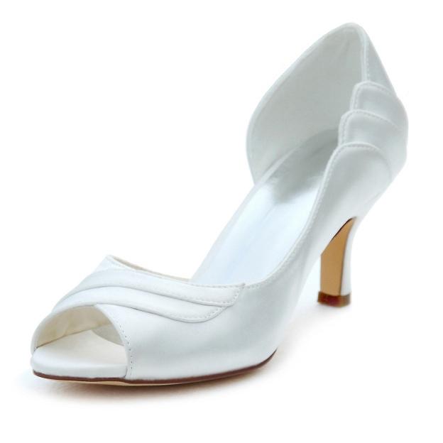 Peep Toe Pumps Wedding Shoes Stiletto Heel Satin Wedding Shoes