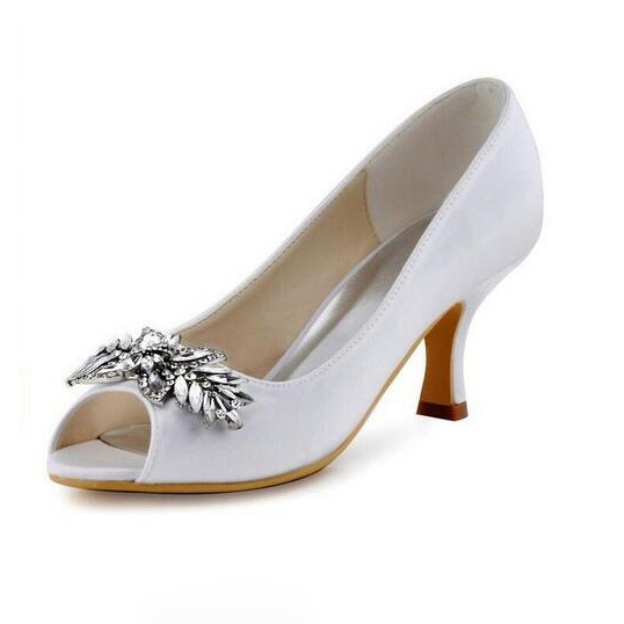 Peep Toe Pumps Spool Heel Satin Wedding Shoes With Crystal Rhinestone