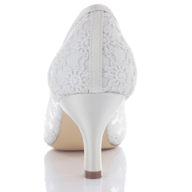 Peep Toe Pumps Wedding Shoes Stiletto Heel Lace Wedding Shoes With Imitation Pearl Rhinestone