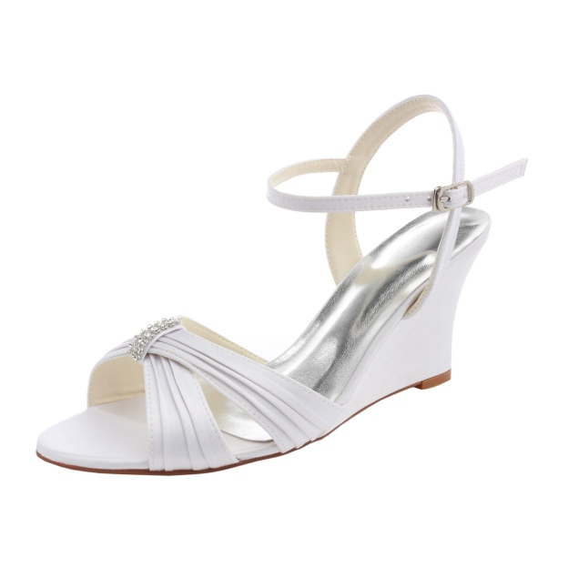 Sandals Wedges Wedding Shoes Wedge Heel Satin Wedding Shoes With Buckle Pleated Rhinestone