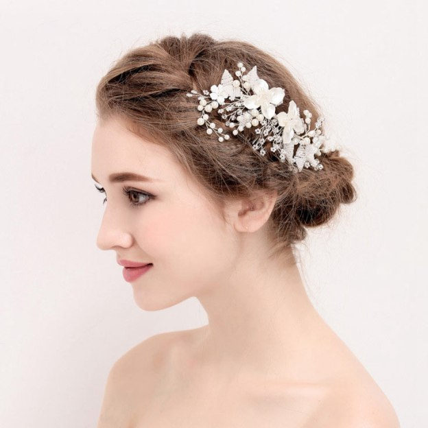 Alloy Ladies Hairpins With Pearl Flower