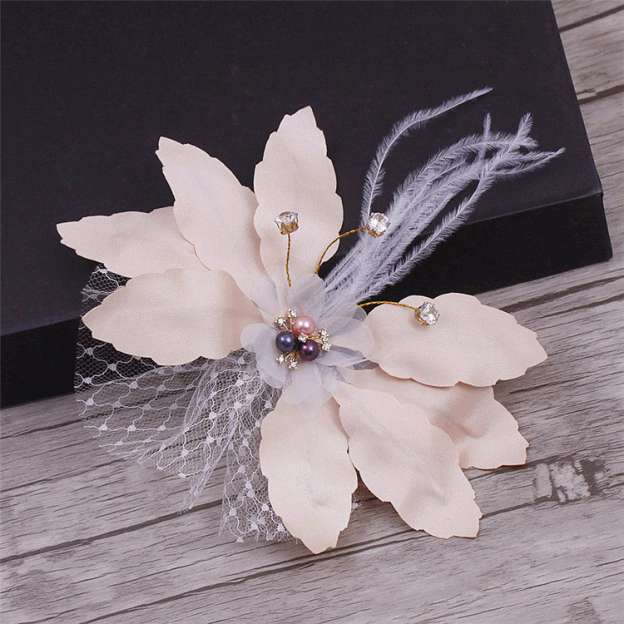 Tulle Ladies Hairpins With Rhinestone Imitation Crystal Feather