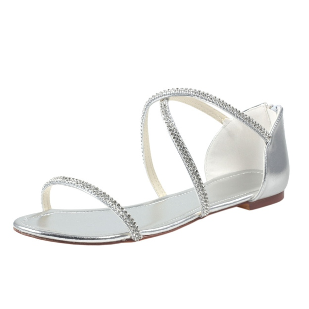 Flats Sandals Flat Heel Patent Leather Wedding Shoes With Rhinestone Zipper