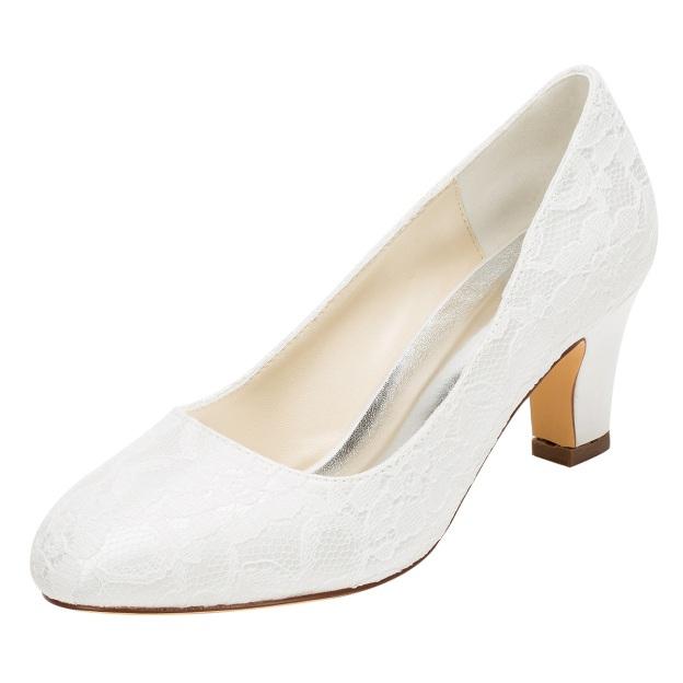 Close Toe Wedding Shoes Round Toe Chunky Heel Lace Wedding Shoes