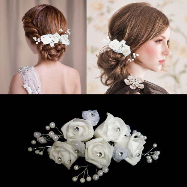 Foam Ladies Flowers & Feathers With Rhinestone Pearl