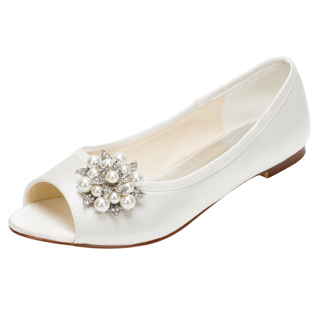 Flats Peep Toe Wedding Shoes Flat Heel Satin Wedding Shoes With Imitation Pearl Rhinestone