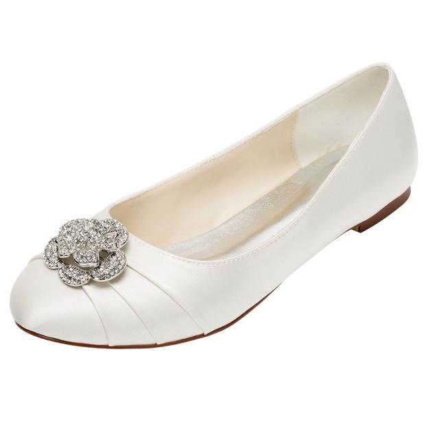 Close Toe Wedding Shoes Round Toe Flat Heel Satin Wedding Shoes With Rhinestone