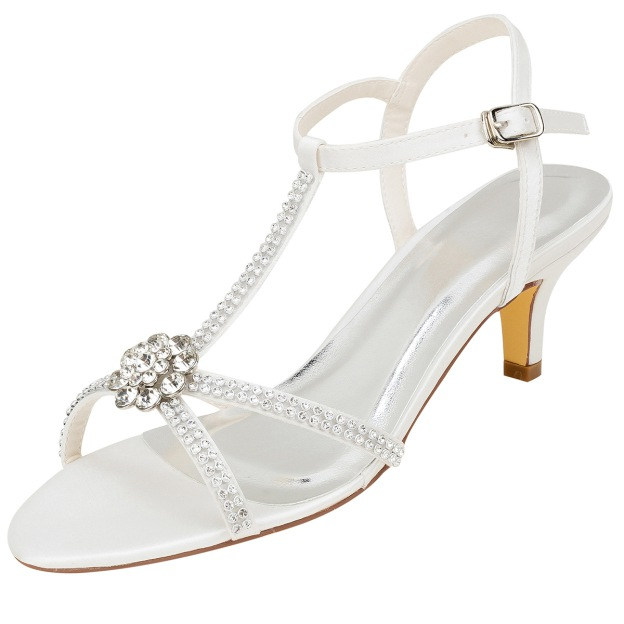 Sandals Wedding Shoes Low Heel Satin Wedding Shoes With Buckle Rhinestone