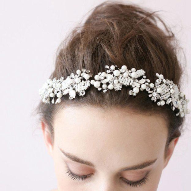 Alloy Ladies Headbands With Rhinestone Pearl