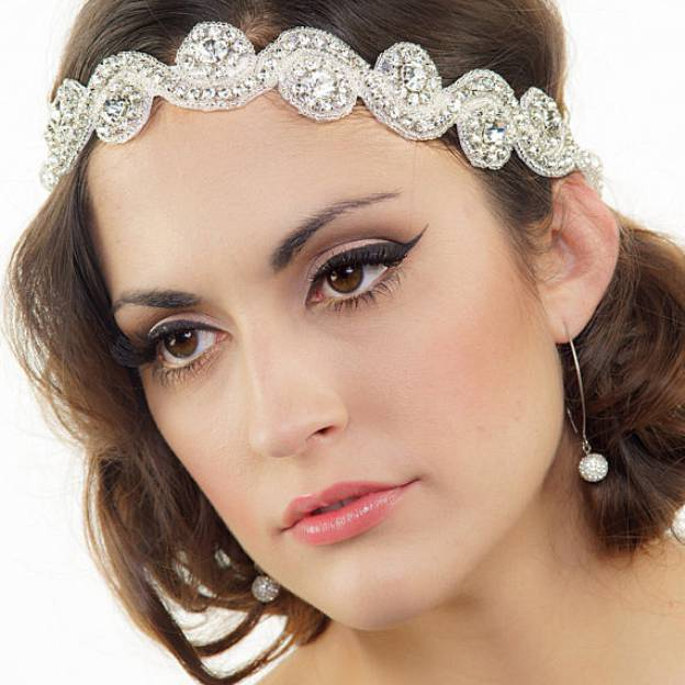 Ribbon Ladies Headbands With Rhinestone