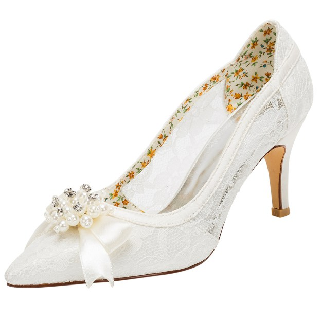 Close Toe Wedding Shoes Stiletto Heel Lace Wedding Shoes With Imitation Pearl Rhinestone Ribbon Tie