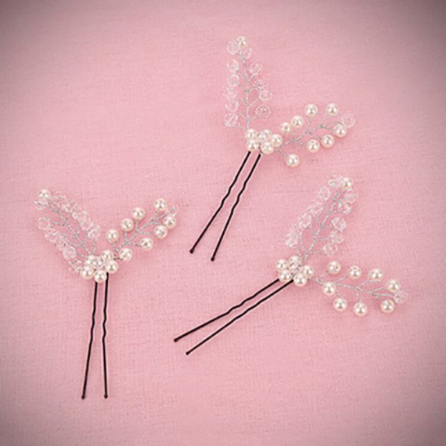 Alloy Ladies Hair Clip With Pearl Beads