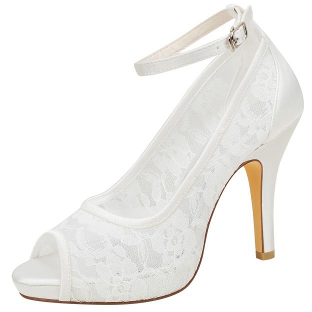 Peep Toe Platform Pumps Stiletto Heel Lace Wedding Shoes With Buckle