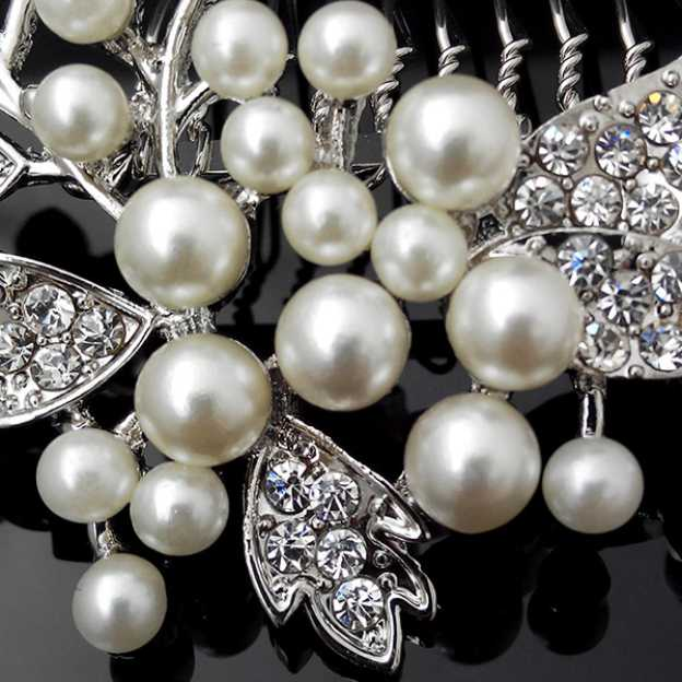 Alloy Ladies Combs & Barrettes With Rhinestone Pearl