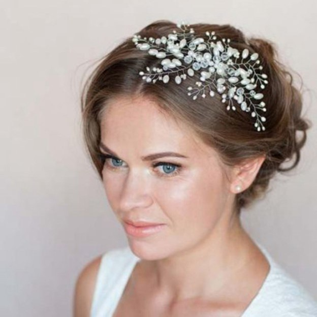 Alloy Ladies Combs & Barrettes With Pearl Beads