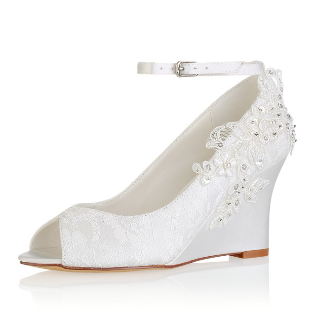 Peep Toe Wedges Wedding Shoes Wedge Heel Lace Wedding Shoes With Appliqued Buckle Imitation Pearl Sequins