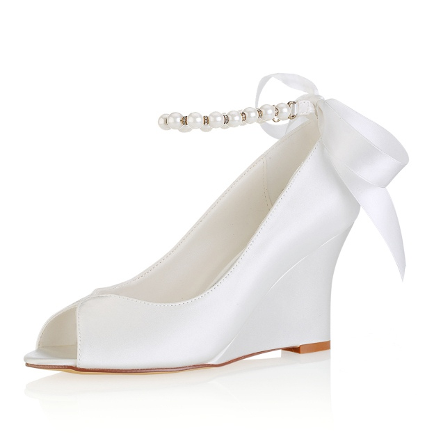 Peep Toe Wedges Wedding Shoes Wedge Heel Satin Wedding Shoes With Imitation Pearl Ribbon Tie