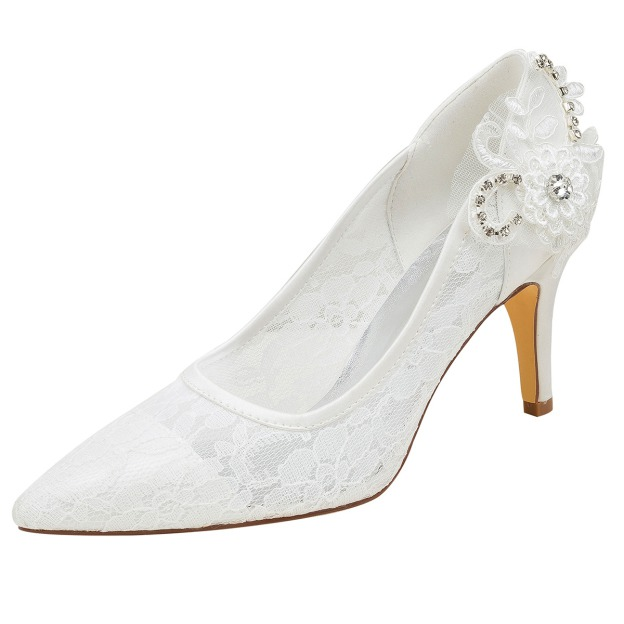 Close Toe Pumps Wedding Shoes Stiletto Heel Lace Wedding Shoes With Appliqued Rhinestone