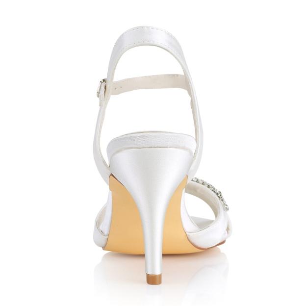 Peep Toe Sandals Slingbacks Stiletto Heel Satin Wedding Shoes With Buckle Rhinestone