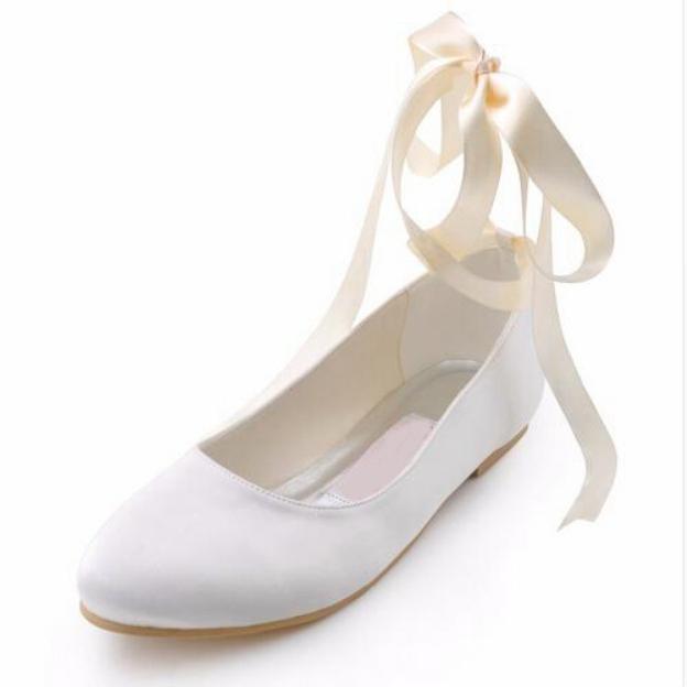 Close Toe Flats Wedding Shoes Flat Heel Satin Wedding Shoes With Ribbon Tie