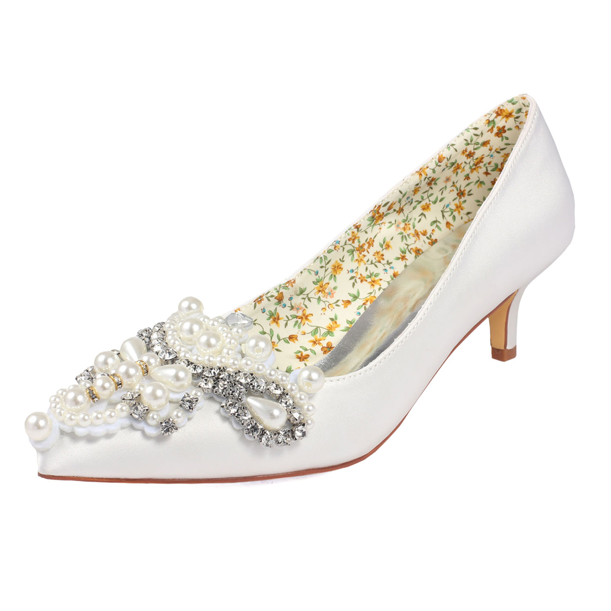 Close Toe Wedding Shoes Kitten Heel Satin Wedding Shoes With Imitation Pearl Rhinestone