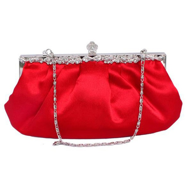 Silk Chain Clutches With Crystal/Rhinestone