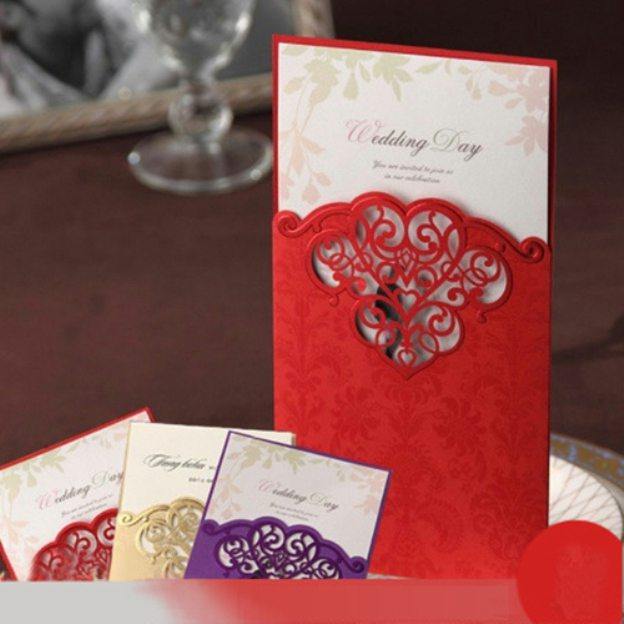 Red Art Paper Invitation Cards 50 Piece/Set