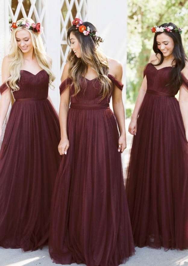 A-Line/Princess Off-The-Shoulder Sleeveless Long/Floor-Length Tulle Bridesmaid Dresses With Pleated