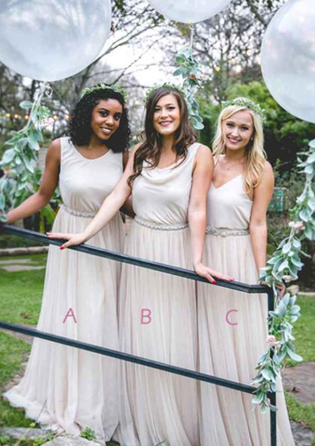 A-Line/Princess Scoop Neck Sleeveless Long/Floor-Length Tulle Bridesmaid Dresses With Waistband