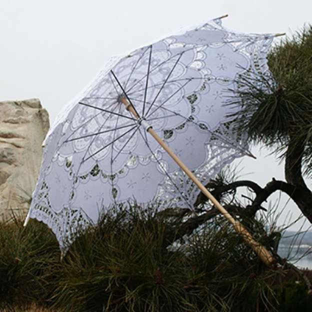 Lace Women'S Post Handle Wedding Umbrellas