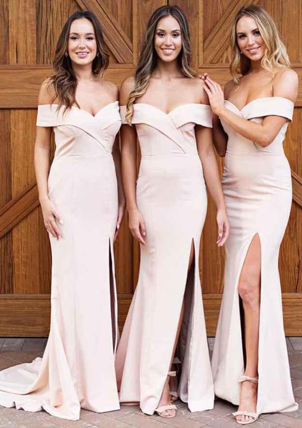 Sheath/Column Off-The-Shoulder Sleeveless Court Train Elastic Satin Bridesmaid Dresses With Split