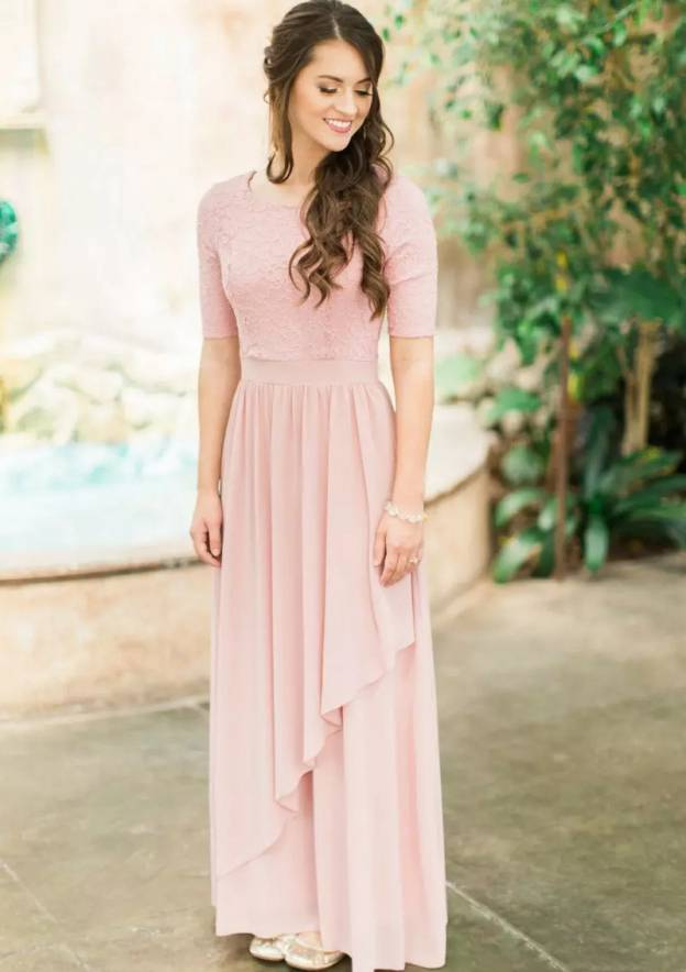A-Line/Princess Scoop Neck Short Sleeve Ankle-Length Chiffon Bridesmaid Dress With Lace Pleated