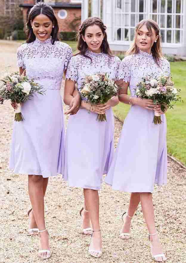 A-Line/Princess High-Neck Short Sleeve Knee-Length Chiffon Bridesmaid Dresses With Lace