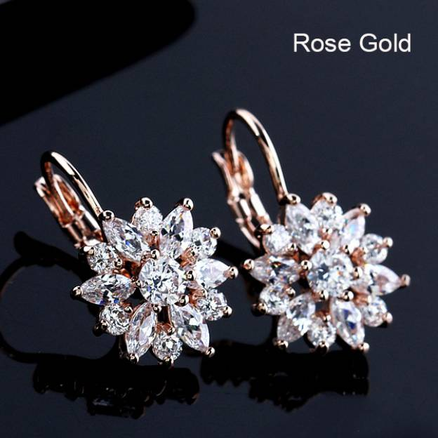 Copper Irregular Pierced Fashion Earrings With Rhinestones